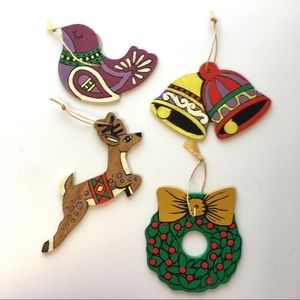 "Hand Painted Wood Christmas Ornaments ""Wreath"" Lot"
